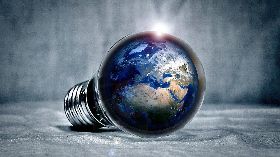 Earth image in a Light bulb