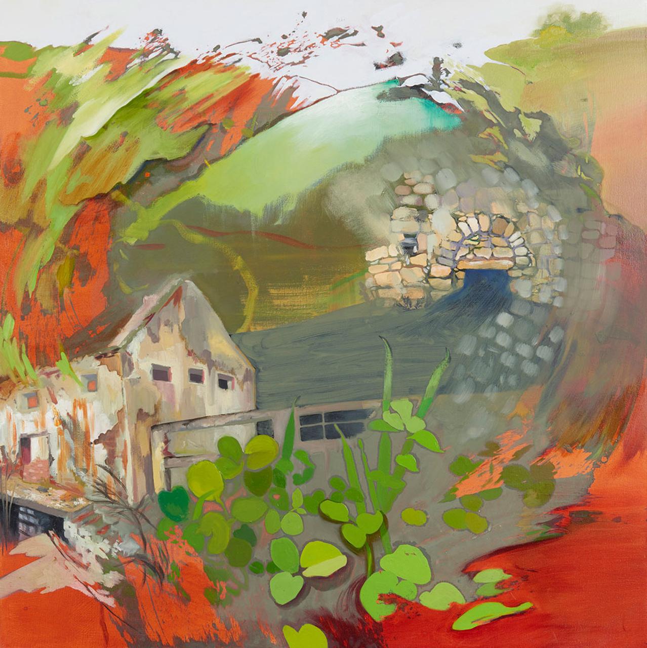 Une huile sur toile représentant une maison, des feuilles vertes et des couleurs rougeâtre, le tout évoquant un mouvement circulaire.