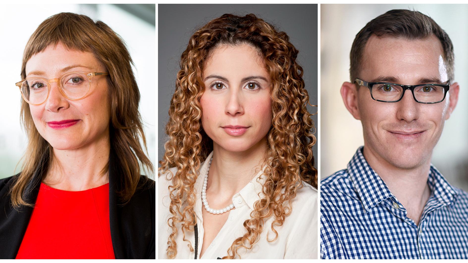 les professeures Kelly Bronson et Mireille Khacho et le professeur Maxime Rousseaux, titulaires des nouvelles chaires de recherche du Canada