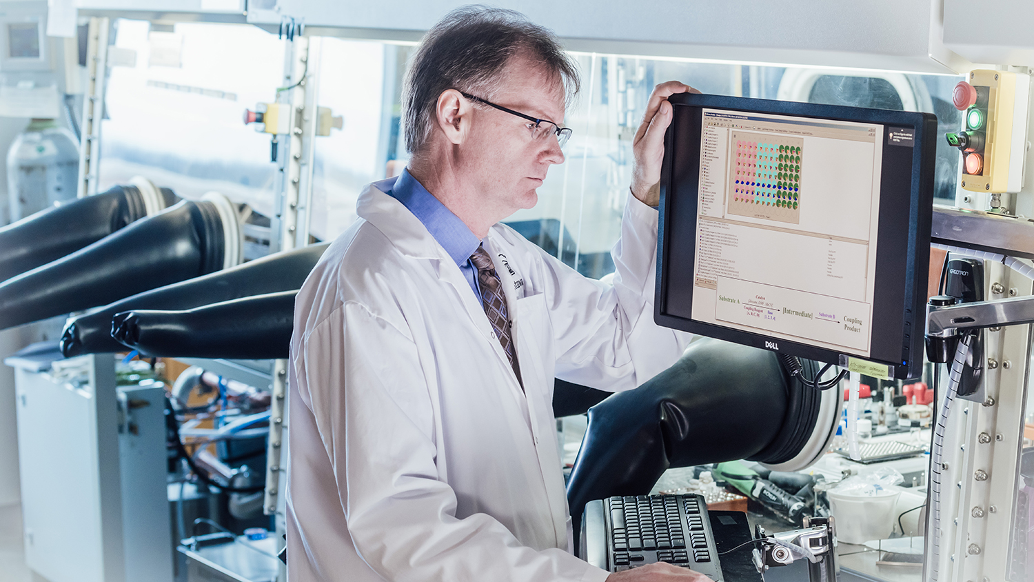 Professor Michael Organ is in a laboratory and looks at scientific data, in front of a computer.