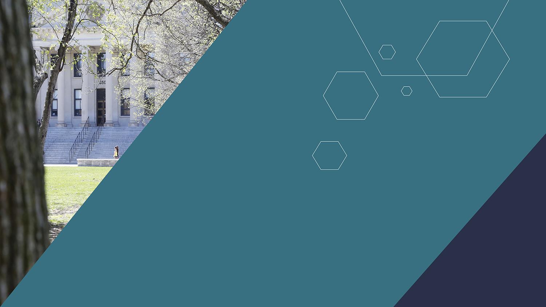 L'image est divisée en trois : à gauche, nous avons une image en forme de triangle montrant l'édifice Tabaret, au centre, nous avons un pentagone vert émeraude avec six hexagones et à droite, nous avons un triangle bleu foncé.