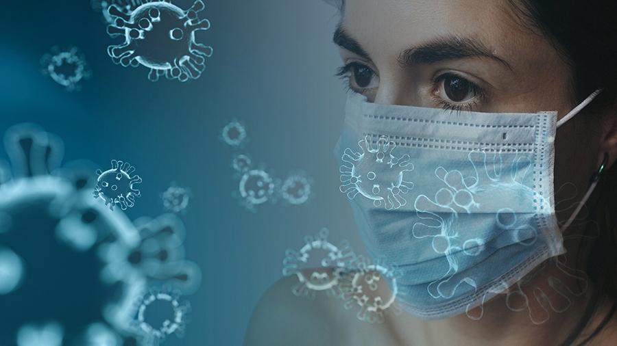 COVID-19 masque de protection sur visage de femme