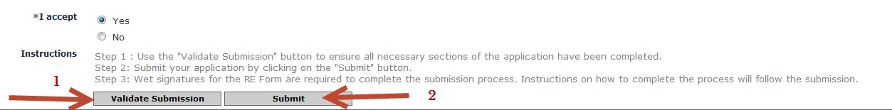 Validate the submission then click on submit button to submit the RE form