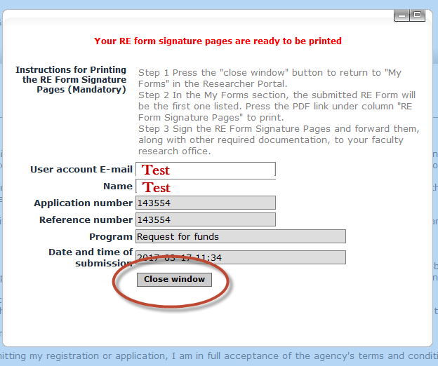 Click the close window button to return to the my forms menu