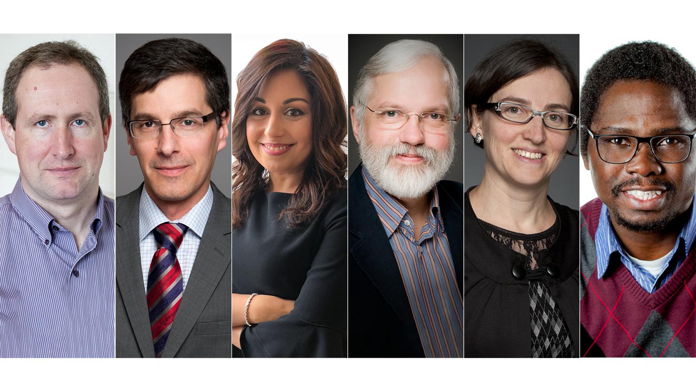 Un montage photo de six professeurs : Luke Copland, Daniel Figeys, Nafissa Ismail, Ronald Labonté, Marie-Eve Sylvestre et Chibuike Udenigwe