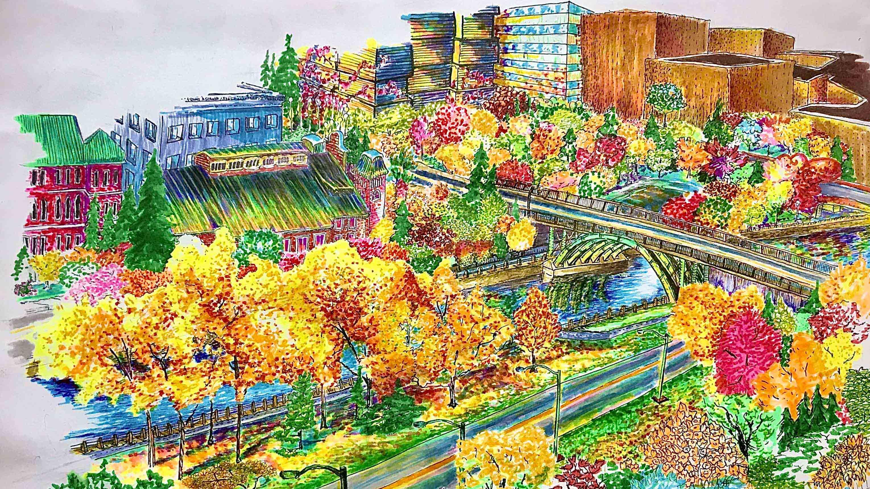 Un dessin d'un paysage aux tons chatoyants vu de la fenêtre de la résidence d'une étudiante de l'Université d'Ottawa