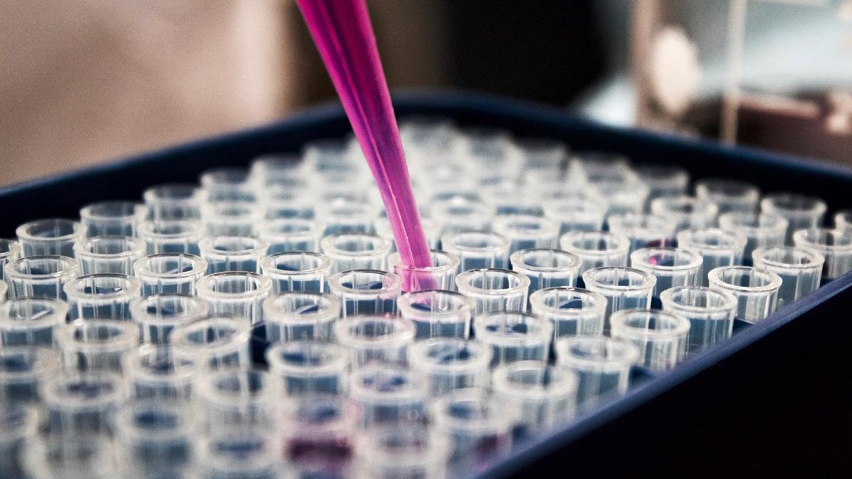 Remplissage de béchers en laboratoire