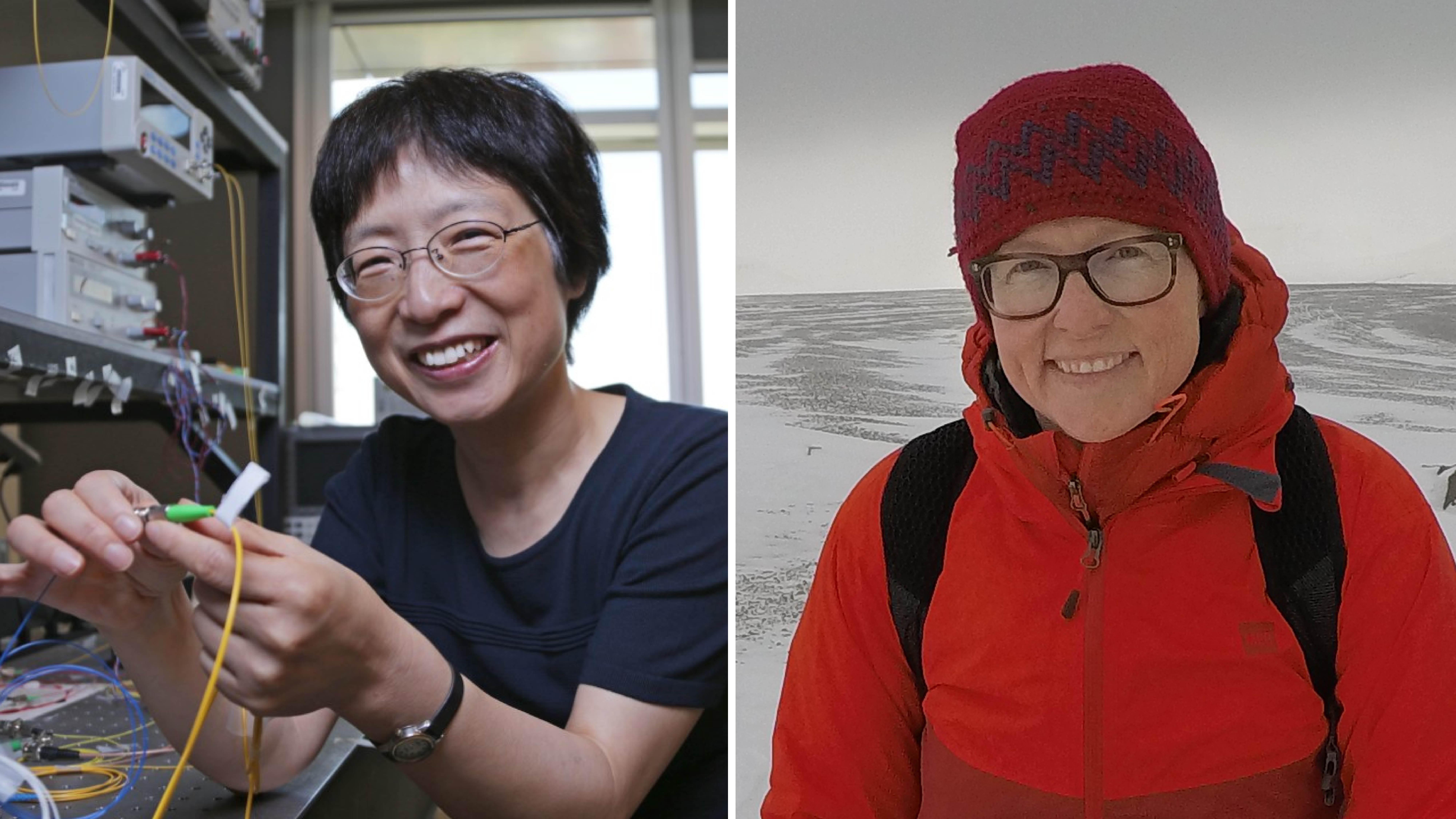 Montage photo de Xiaoyi Bao dans son laboratoire et de Jackie Dawson dans l'Arctique